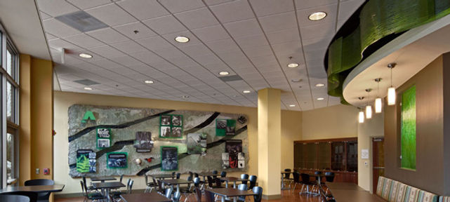 Alpha Natural Resources Cafe- Acoustical Ceilings - Armstrong Curved Axiom