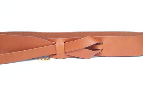 I-1/2 or 1-1/4 inch Camel Tan Muse Belt