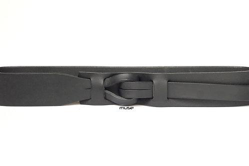 1-1/2 Black Muse Qallu Leather Belt