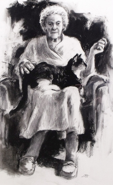 Lady With Her Cat