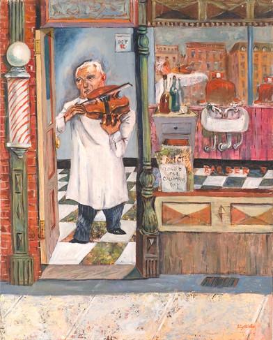 Barber Playing His Violin on Columbus Da