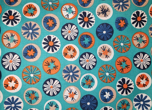 Flowers in circles on blue