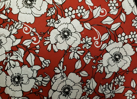 Black outlined floral red background