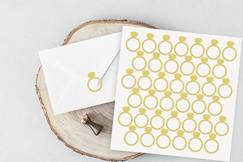 Ring stickers - envelope seal - vinyl sticker- vinyl decal- wedding engagement