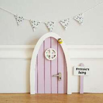 Fairy door with personalised signpost.Lilac with Optional fabric floral bunting