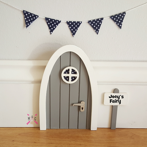 Fairy door with personalised signpost. Grey with optional bunting
