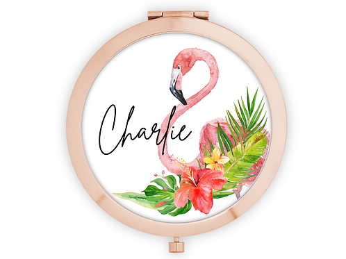 Rose Gold Personalised flamingo compact mirror