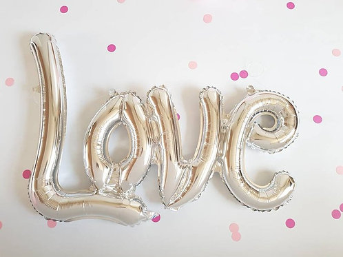 love balloon, silver foil, engagement party decoration, party supply, wedding de