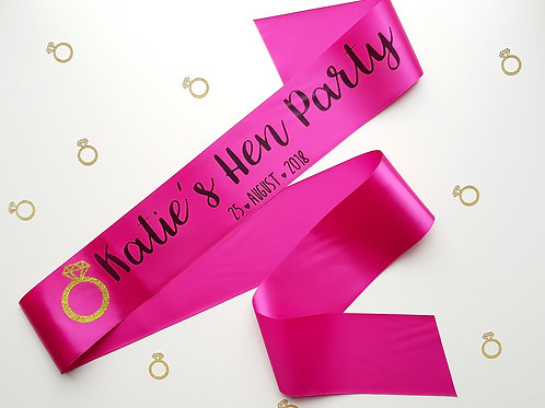 hen party personalised sash bridal party hen night wedding day bride to be