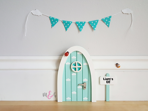 Fairy door pastel blue with cloud decals
