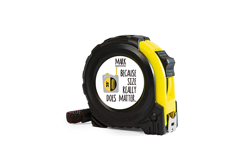personalised tape measure funny quote because size does matter