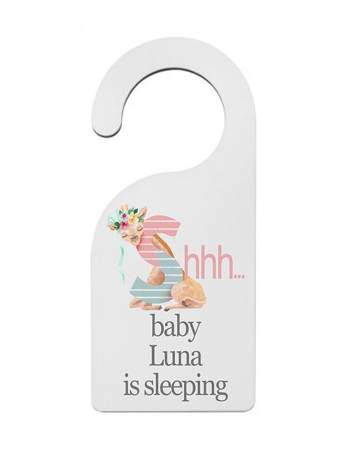 Personalised nursery sign door hanger pink - shhh baby is sleeping - baby girl