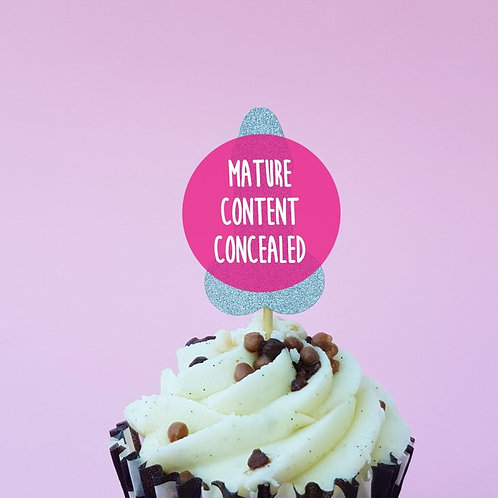 Hen night - mature penis cupcake topper, silver willy cake pick, hen party