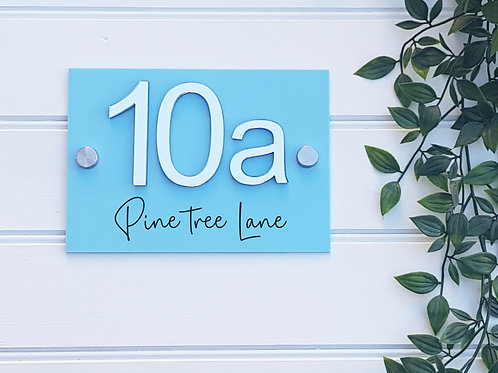 House number mirrored sign with street name, 3d numbers, Personalised, acrylic
