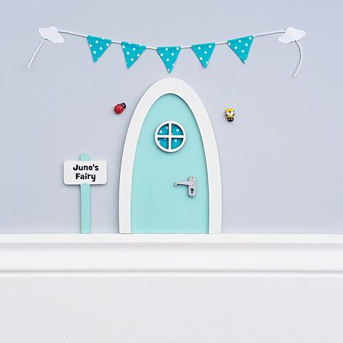 Personalised pastel blue Fairy door Optional bunting