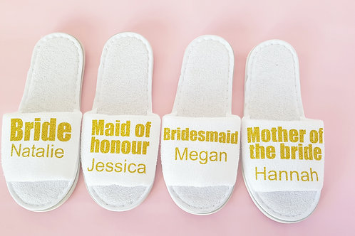 Personalised bride slippers in gold glitter, hen night