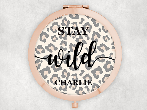 Rose Gold Personalised leopard print compact mirror stay wild
