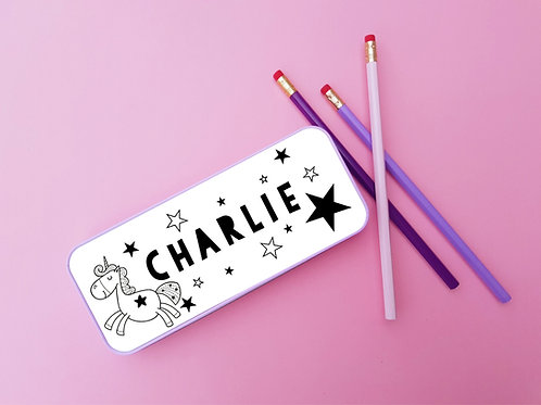 personalised unicorn pencil tin
