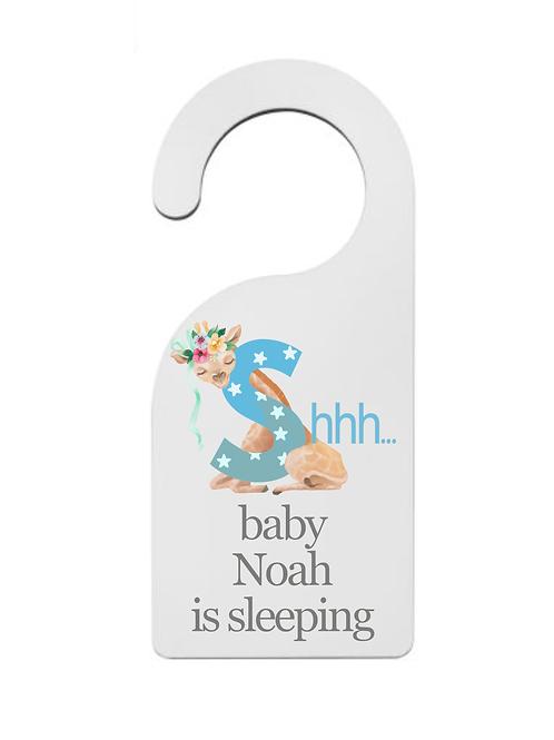 personalised nursery sign door hanger baby boy new born