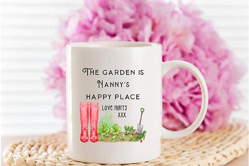 personalised gardening mug,  nanny gardening gift