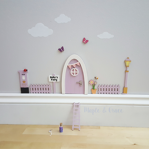 Fairy door kit with personalised signpost - lilac - fairy house