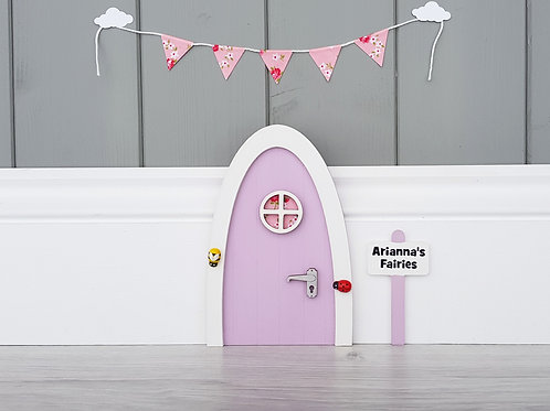 Fairy door lilac with personalised signpost - tooth fairy - Optional bunting