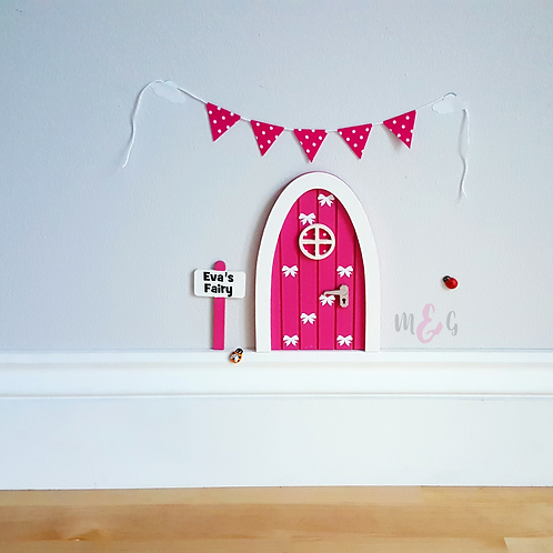 Personalised fairy door hot pink - brilliant gift for girls - Optional Bunting