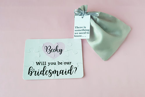 Bridesmaid proposal puzzle, Will you be our bridesmaid?