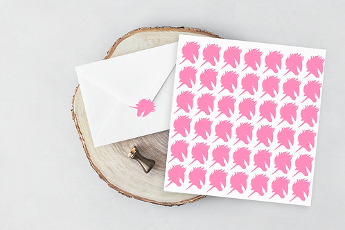 unicorn vinyl sticker - envelope seal pink - diy invitations -favour stickers