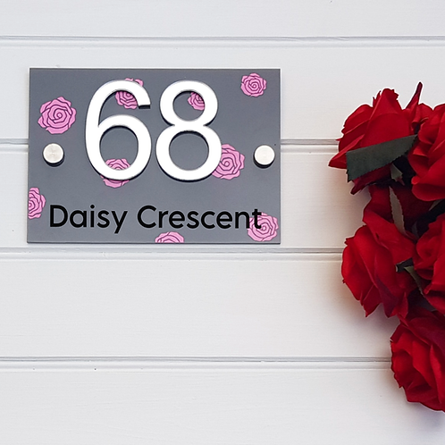 House number acrylic sign with pink roses personalised 3d mirrored numbers, wall
