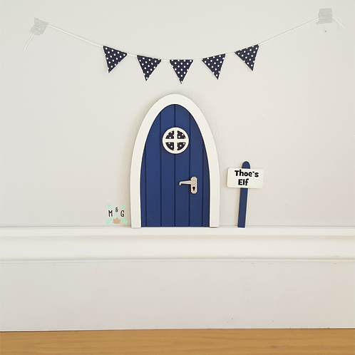 Fairy door- personalised signpost in deep blue navy Optional polka-dot bunting