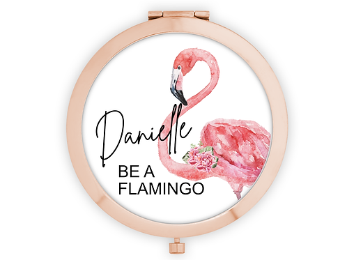 Rose Gold Personalised compact mirror be a flamingo