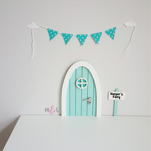 Personalised pastel blue Fairy door Optional bunting