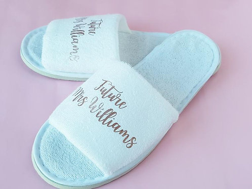 Personalised future Mrs slippers rose gold