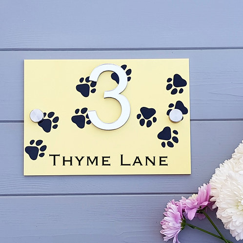 Pastel house number sign in acrylic, dog paw print themed