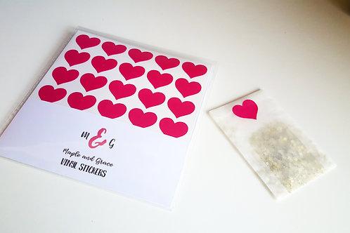 Mini heart stickers - vinyl decal - envelope seals -planner stickers - crafts