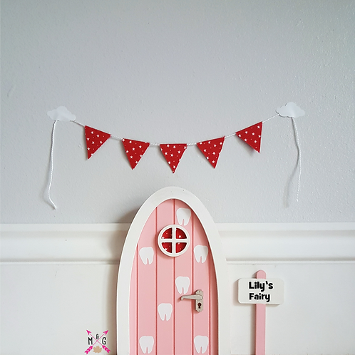Personalised fairy door tooth fairy pink- optional bunting