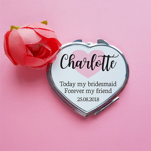 Personalised bridesmaid wedding gift compact mirror