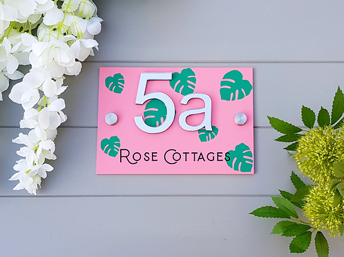 door number sign in acrylic, 3d mirrored numbers, tropical swiss cheese pattern