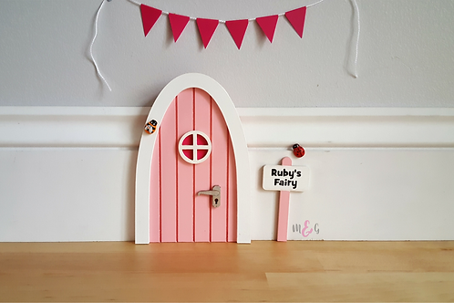 Personalised pink Fairy door- gift- Optional bunting- (welcome mat not included)
