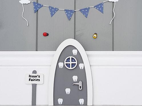 Personalised fairy door -tooth fairy door - grey and blue - optional bunting