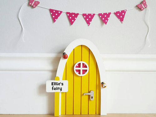 Personalised Yellow fairy door great gift / optional bunting or Full kit