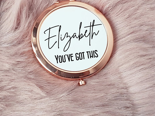 Rose Gold Personalised compact mirror you've got this
