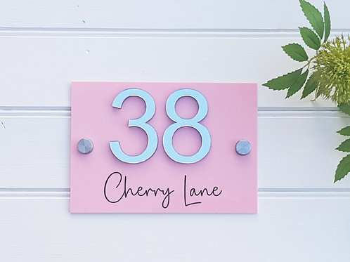 House number sign, acrylic in a choice of colours with personalised 3d numbers