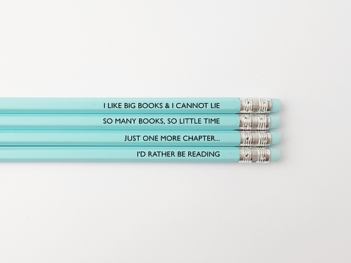 Book lover quote pencils reading gift