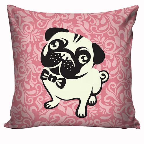 Capa de almofada Pug rosa