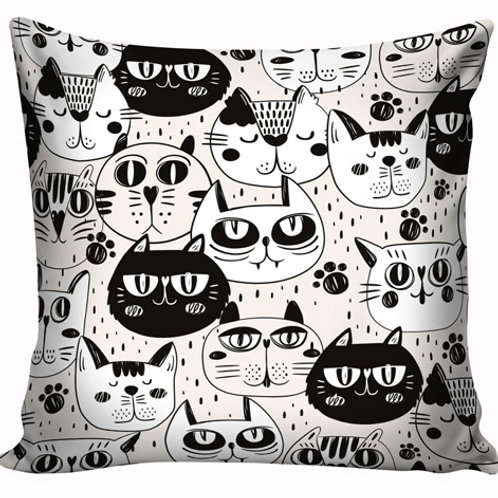 Capa de almofada Gatos Preto e branco