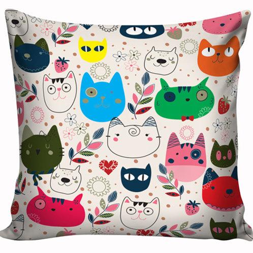 Capa de almofada Gatos Coloridos