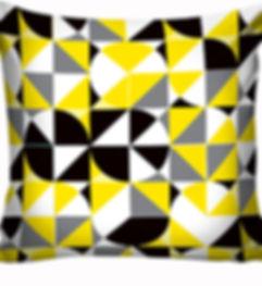 Capa de almofada Preto e Amarelo