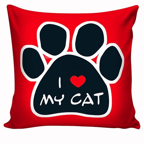Capa de almofada I Love My Cat Vermelho